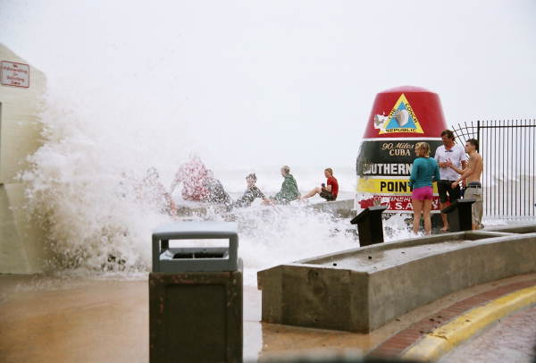 View of the storm waves at the Southernmost Point off Whitehead Street during Hurricane Rita - Key West, Florida.