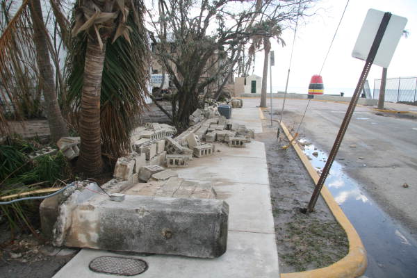 View of damage caused by Hurricane Wilma near the Southernmost Point - Key West, Florida.