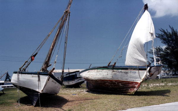 Haitian and Cuban refugee boats on pier D-2 at Coast Guard Station Key West..