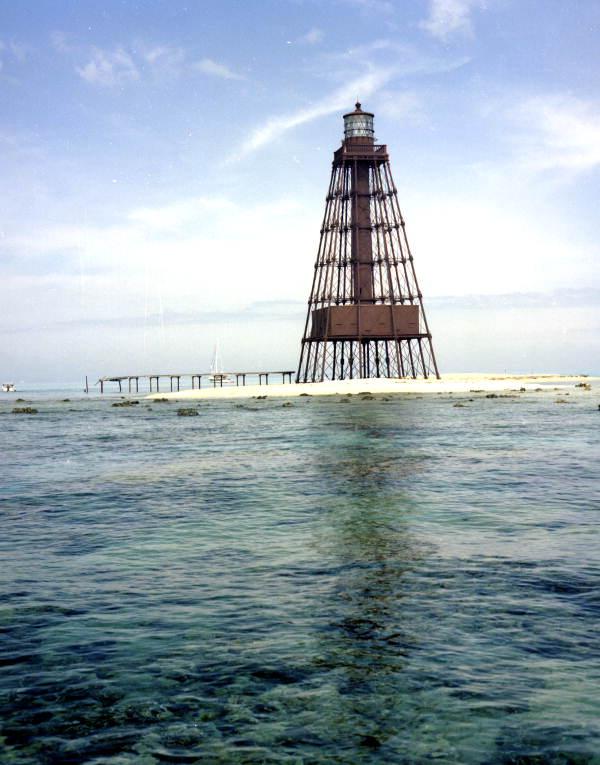 Sand Key Lighthouse, located 9 miles southwest of Key West, FL..