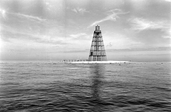 Sand Key Lighthouse located 9 miles southwest of Key West, FL..