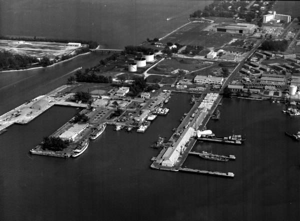 Aerial view of U.S. Coast Guard station located on pier D-2 - Key West, Florida.