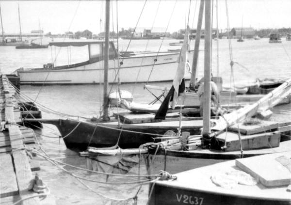 View of boats docked behind the Casa Marina Hotel - Key West, Florida.
