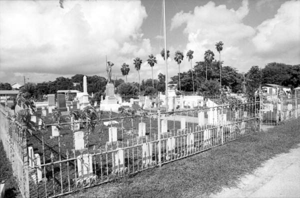 The battleship USS Maine cemetery plot, located in the Key West Cemetery, Key West, Florida..