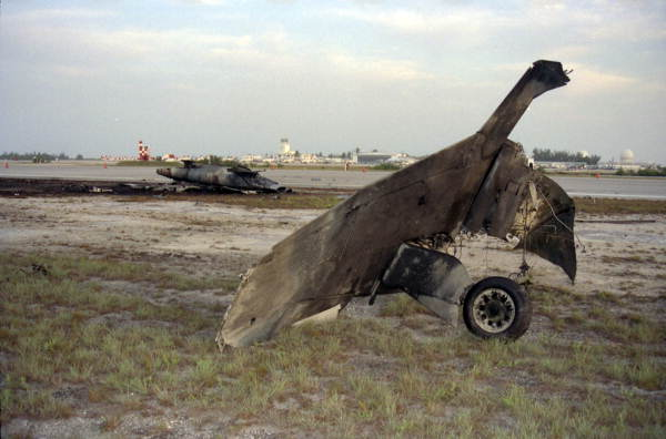 Remains of F-5 jet aircraft involved in a mid-air collision, over NAS Key West, with an FA-18 Hornet jet aircraft.