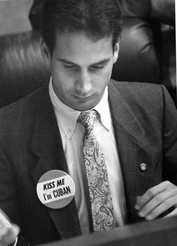 "Florida State Representative Mario Diaz-Balart wearing his ""Kiss Me, I'm Cuban"" button."