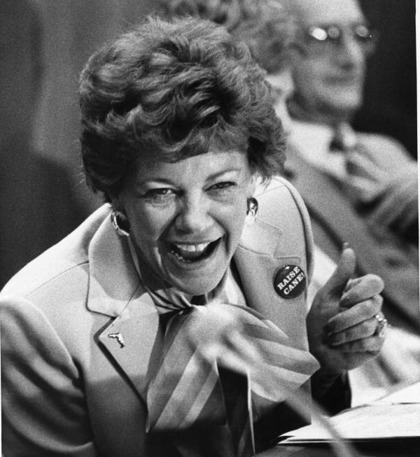 Representative Beverly Burnsed breaks into laughter - Tallahassee, Florida.