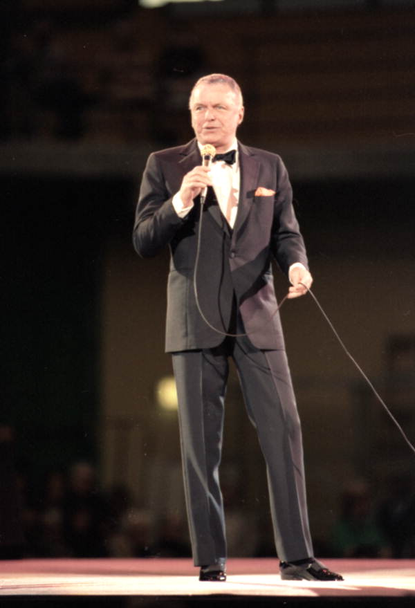 Frank Sinatra singing during a concert in Tampa, Florida.