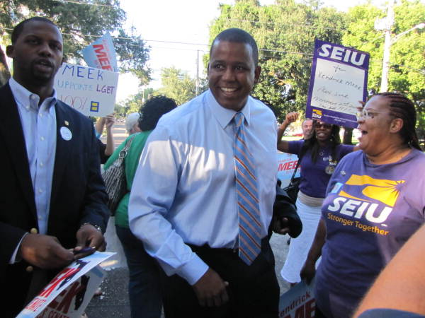 U.S. Representative Kendrick Meek on his way into Orlando's WFTV television station for the 2010 U.S. Senate race debate with Governor Charlie Crist and Republican candidate Marco Rubio.