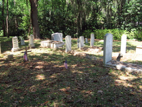 Headstones in burial ground at The Grove in Tallahassee, Florida.