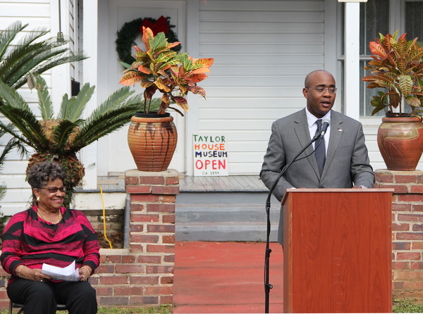 Florida State Representative Alan Williams speaking during dedication ceremony for historical marker at the Taylor House in Tallahassee.
