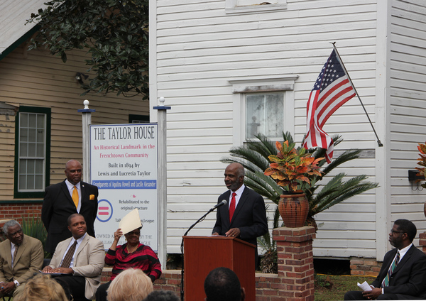 FAMU Interim President Larry Robinson speaking during dedication ceremony for historical marker at the Taylor House in Tallahassee.