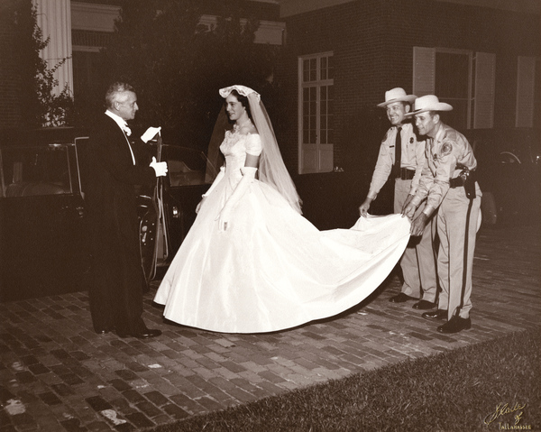 Governor Collins with his daughter Jane during her marriage to John Karl Aurell at the Mansion in Tallahassee.