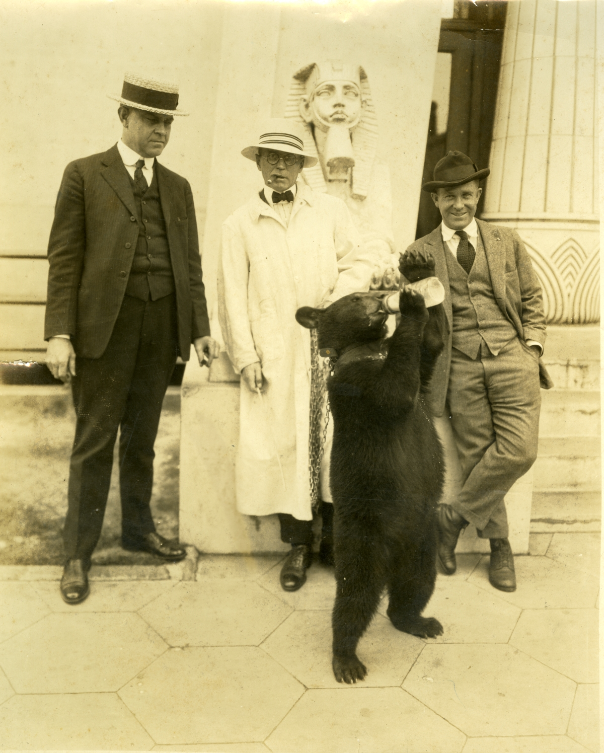 Men with a bear in front of the Morocco Temple in Jacksonville.
