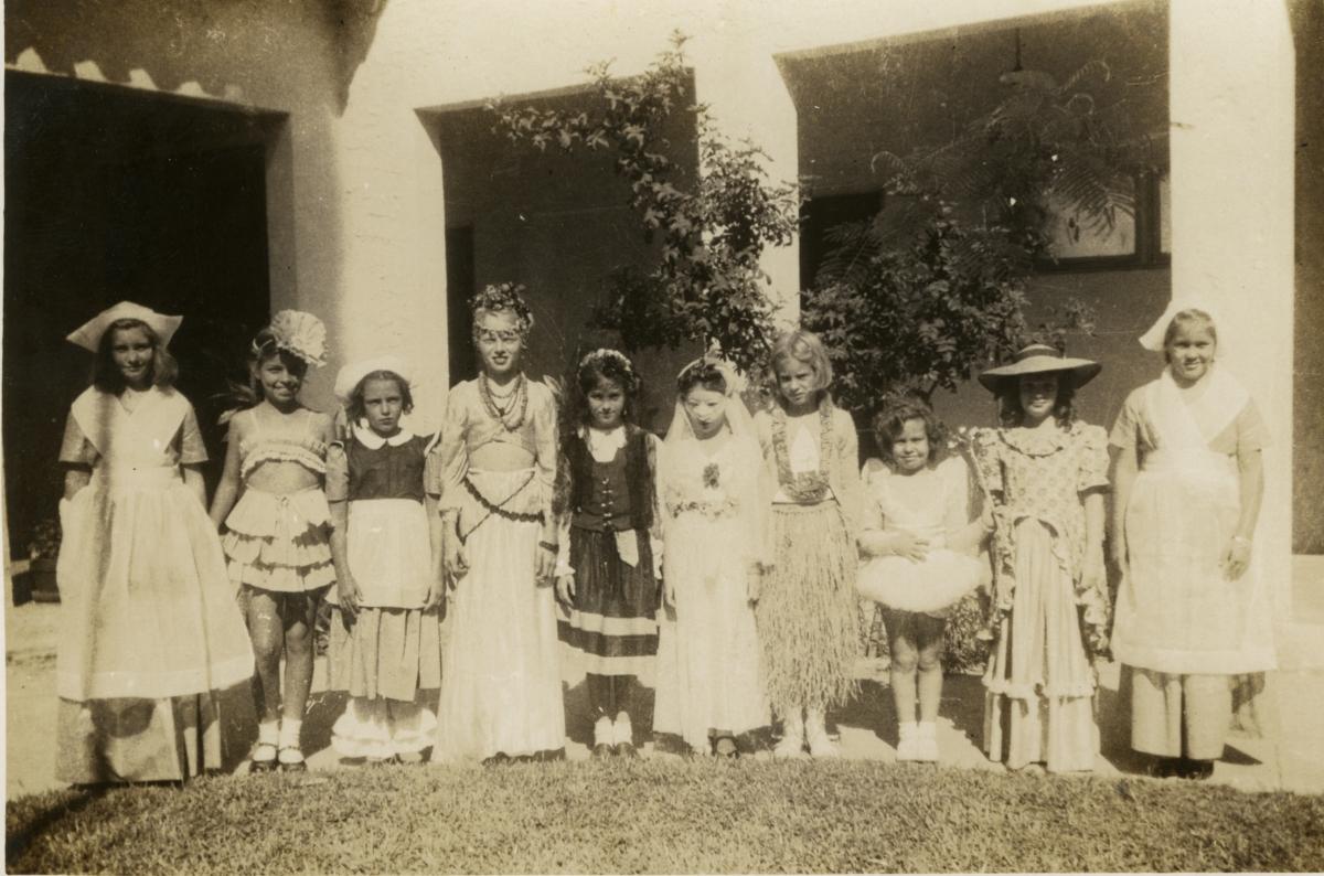 Female students from Merrick Demonstration School in costume.