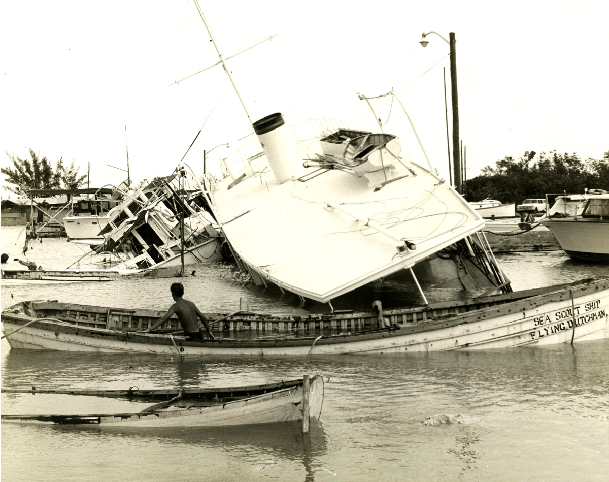 Yachts destroyed by Hurricane Betsy at the Key West Yacht Club.