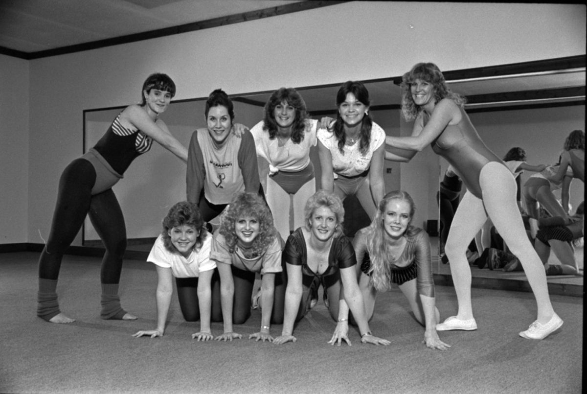 Young women in aerobics class- Tallahassee, Florida.