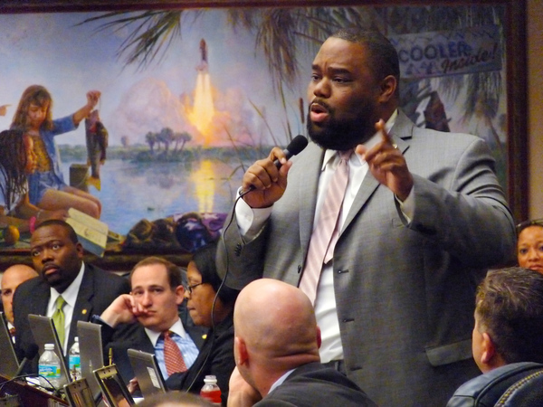 Teacher by profession, Representative Dwight Bullard, D-Cutler Bay, debating in opposition to the Student Success Act (SB736) on the House floor in Tallahassee, Florida.