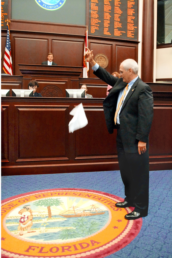 Sergeant-at-Arms Earnest Sumner dropping handkerchief during the House Sine Die.