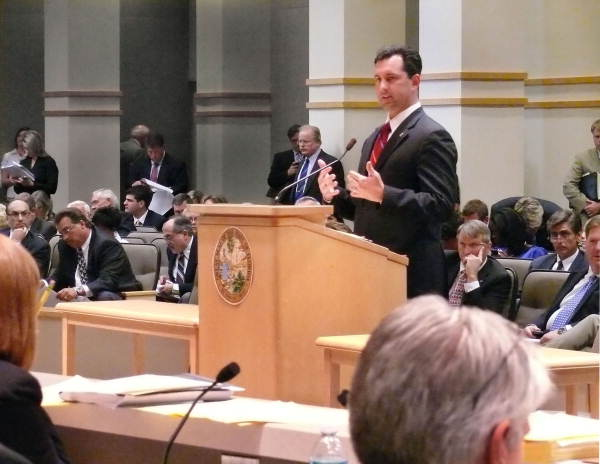 Florida State Representative Anthony Traviesa, R-Brandon, commenting on an issue during a Committee meeting in Tallahassee, Florida.