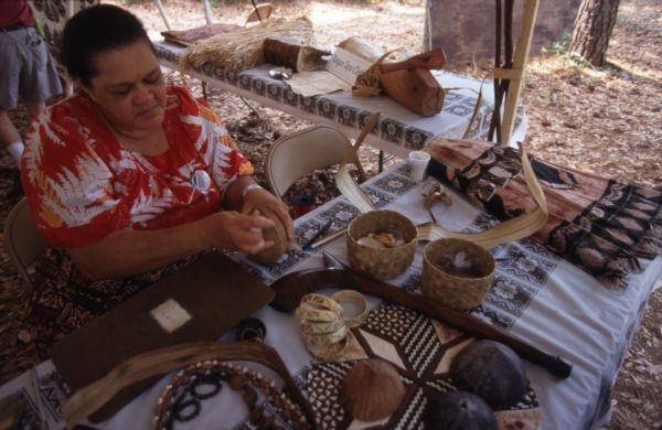 Lilly Koroitamudu, Fijian cultural advocate and storyteller, with her crafts at the 1998 Florida Folk Festival.
