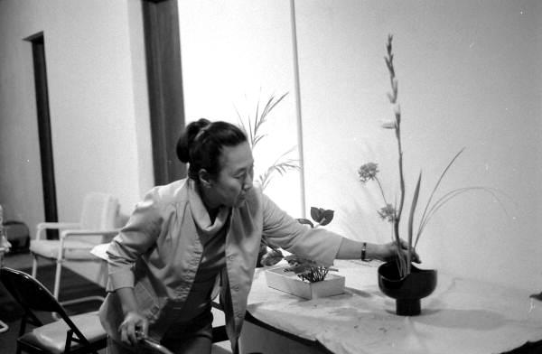 Atsuko Lefcourte making a Ike bana floral arrangement- Lake Park, Florida.