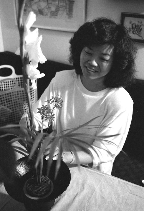 Kathy Levanthal making an Ikebana floral arrangement- Lake Park, Florida.