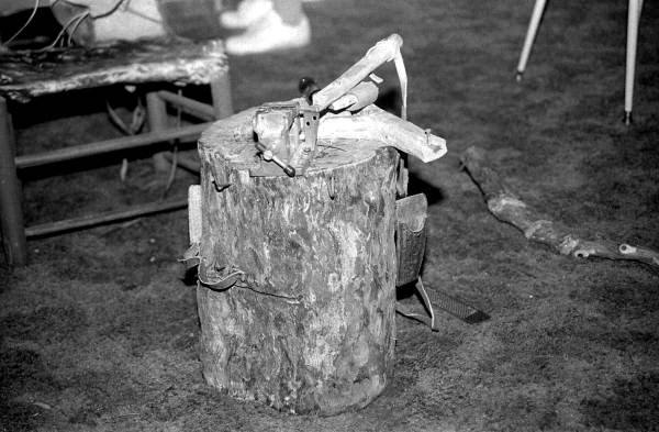 Woodcarving stump used by Creek Indian Bobby Thomas Johns - Pensacola, Florida.