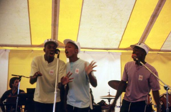 Rap group Kan-Dee-Krew performing at a medical center Wellington, Florida.