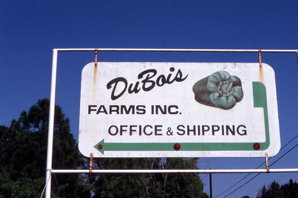 Sign for DuBois Farms, pepper growers - Boynton Beach, Florida.