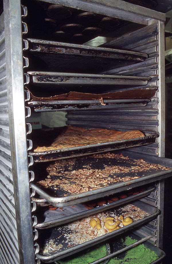 Pastry rack in air-conditioned kitchen area of Italian bakery - Lake Worth, Florida.
