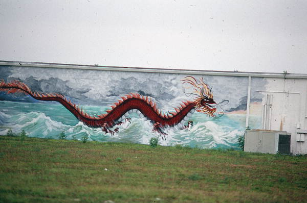 Dragon mural painted on the side of the Valley View Farm packing house - Boynton Beach, Florida.