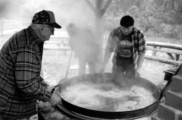 Harley Cason, left, making cane syrup - White Springs, Florida.