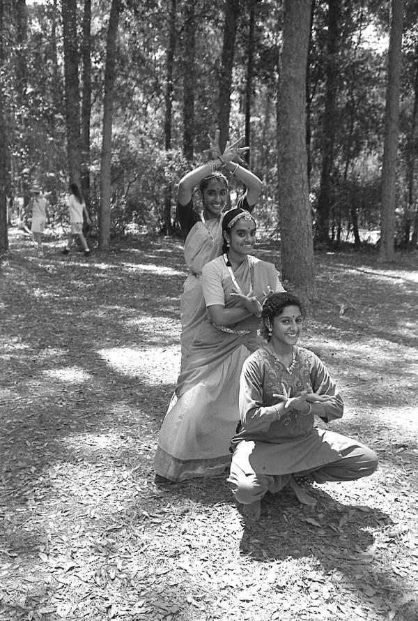 Nila Radhakrishnan (front) posing with East Indian dance apprentices Prema Menon and Priya Menon at the 1991 Florida Folk Festival - White Springs, Florida.