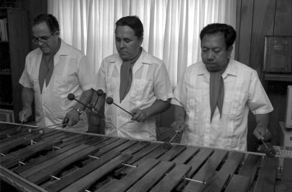 Three of the members of Marimba Mayalandia perform in the Rivera residence - Orlando, Florida.