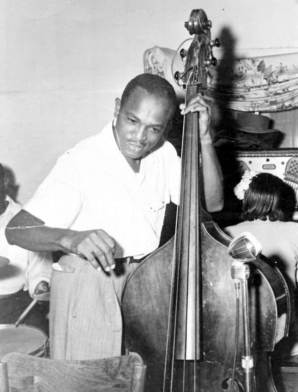 Harold Andrews playing bass at the Twilight Club on Barrancas Avenue - Pensacola, Florida.