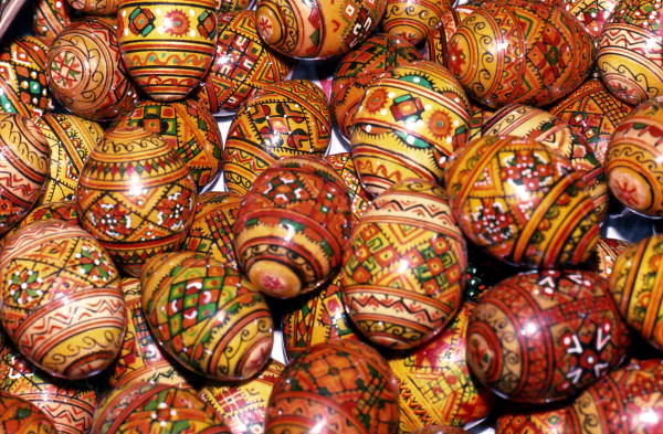 Decorated eggs at the St. Petersburg International Folk Fair.