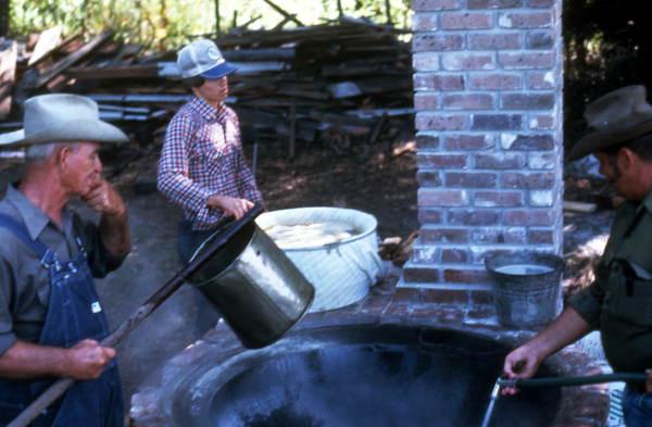 Cooking sugar cane juice into syrup - Orlando, Florida.