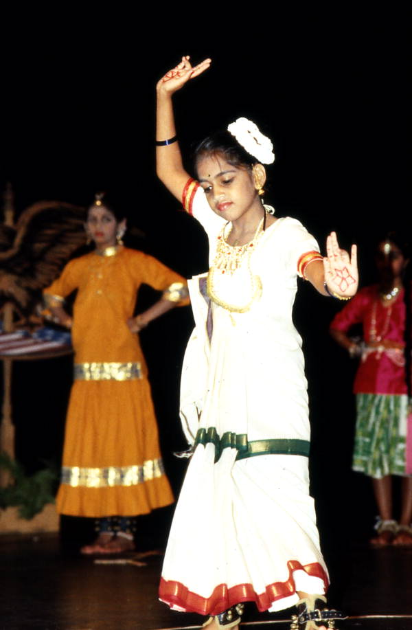 Young girl performs East Indian dance at celebration of Indian Independence Day - Jacksonville, Florida.