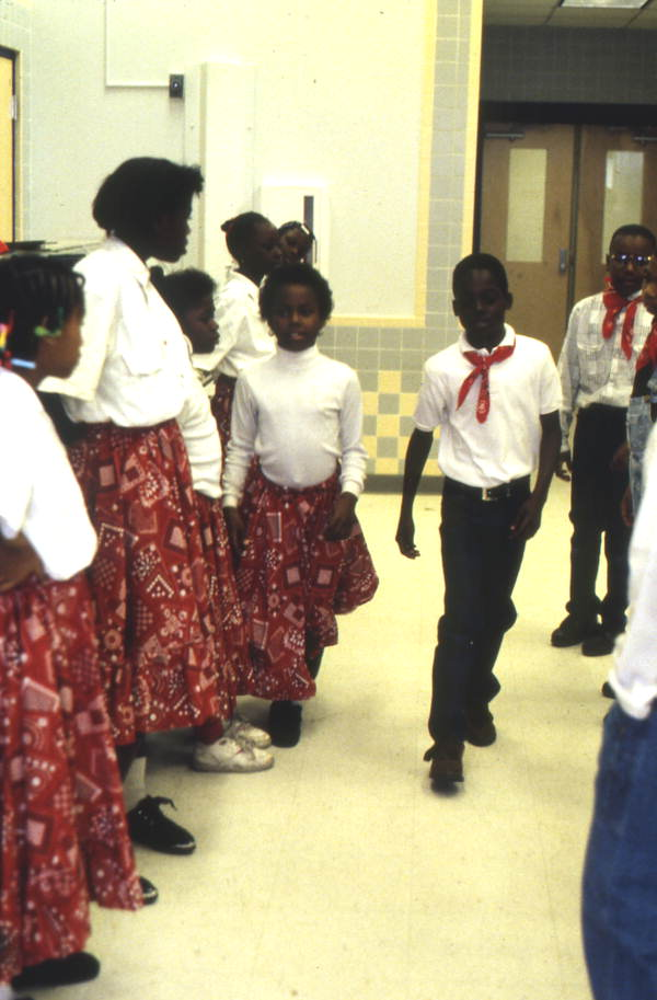 Fifth grade students at John E. Ford Elementary square dancing - Jacksonville, Florida.