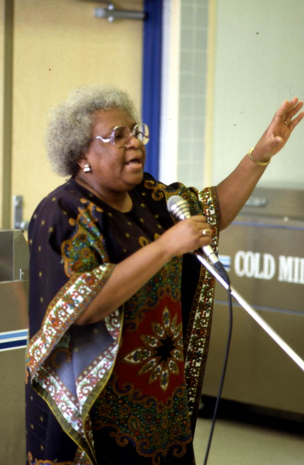 Frankie Quimby from the Georgia Sea Island Singers performing slave songs and spirituals at John E. Ford Elementary School.