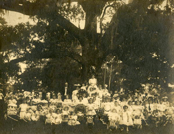Group portrait during the May Party celebration by the May Oak in Tallahassee, Florida.