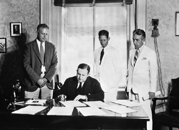 Governor Sholtz signing seven forestry bills (1935)