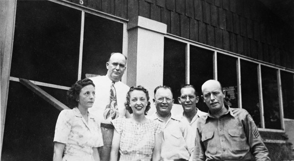 Bevis family on front porch of home of Mary Edel Bevis Hinson - Tampa, Florida.