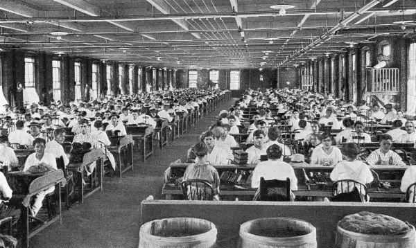 Interior of a large cigar factory - Tampa, Florida.