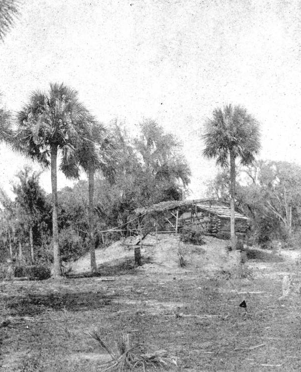 View of a mound and shelter at Swifts Camp - Aucilla River, Florida.