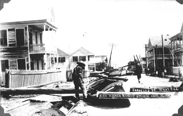 West end of Caroline Street after the 1909 hurricane - Key West, Florida.