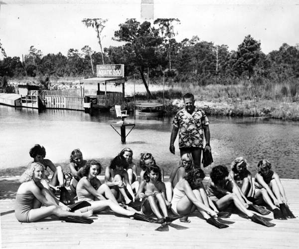 Mermaids-in-training with Newt Perry - Weeki Wachee Spring, Florida.