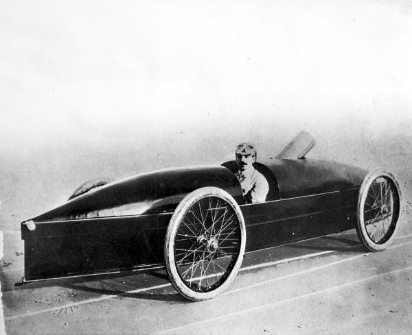 "Fred Marriott in his ""Rocket"" Stanley Steamer."