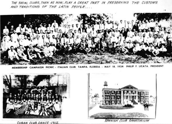 Three views of ethnic social clubs from the area - Tampa, Florida.